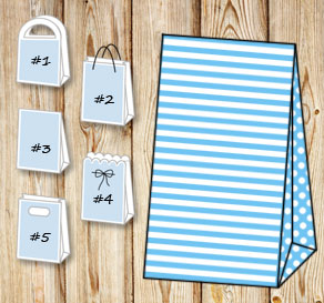 Light blue and white striped gift bag with dotted s...  | Free printable gift bag