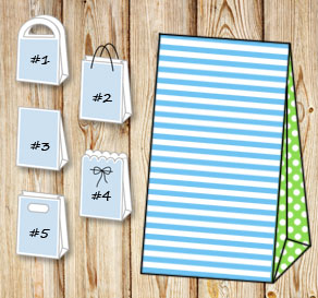 Light blue and white striped gift bag with light gr...  | Free printable gift bag
