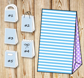 Light blue and white striped gift bag with light pu...  | Free printable gift bag