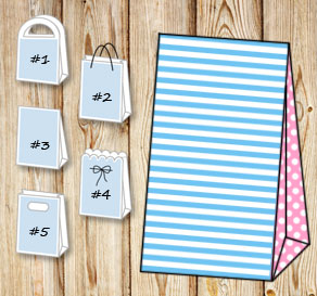 Light blue and white striped gift bag with light pi...  | Free printable gift bag
