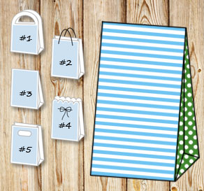 Light blue and white striped gift bag with green do...  | Free printable gift bag