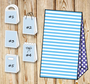 Light blue and white striped gift bag with purple d...  | Free printable gift bag