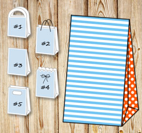Light blue and white striped gift bag with orange d...  | Free printable gift bag