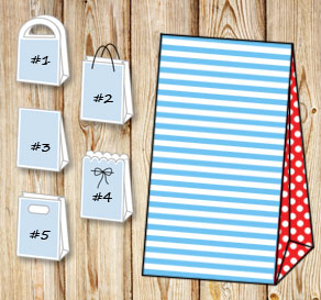 Light blue and white striped gift bag with red dott...  | Free printable gift bag