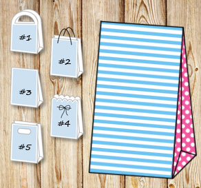 Light blue and white striped gift bag with pink dot...  | Free printable gift bag