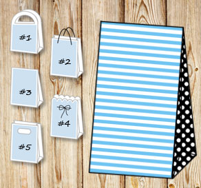 Light blue and white striped gift bag with black do...  | Free printable gift bag