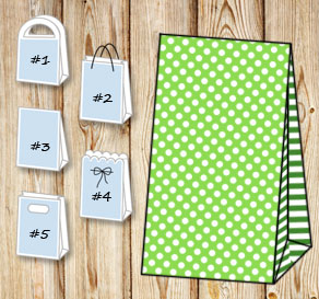 Green gift bag with white dots and dark green strip...  | Free printable gift bag