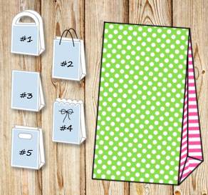 Green gift bag with white dots and pink striped sides  | Free printable gift bag