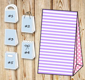 Light purple and white striped gift bag with light ...  | Free printable gift bag
