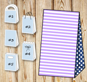Light purple and white striped gift bag with dark b...  | Free printable gift bag