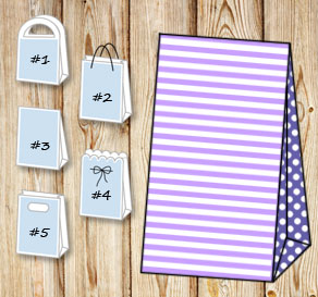 Light purple and white striped gift bag with dark p...  | Free printable gift bag