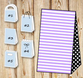 Light purple and white striped gift bag with black ...  | Free printable gift bag