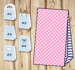 Light pink gift bag with white dots and purple stri...  | Free printable gift bag