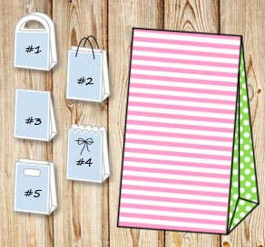 Light pink and white striped gift bag with light gr...  | Free printable gift bag