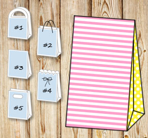 Light pink and white striped gift bag with yellow d...  | Free printable gift bag