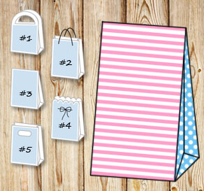 Light pink and white striped gift bag with light bl...  | Free printable gift bag
