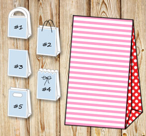 Light pink and white striped gift bag with red dott...  | Free printable gift bag