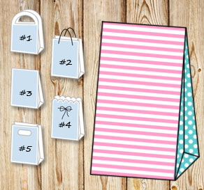 Light pink and white striped gift bag with yturquoi...  | Free printable gift bag