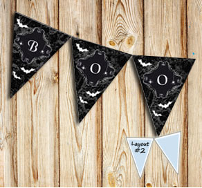 Pennants with marbeled halloween print  | Free printable for Halloween