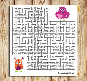Maze: Help the love monster find its friend  | Free printable for Valentines day