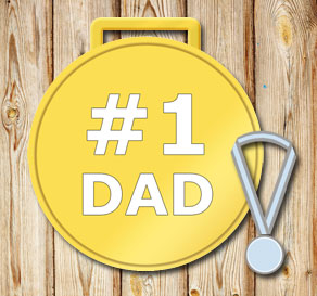 Gold medals: #1 Dad in white  | Free printable for Fathers day