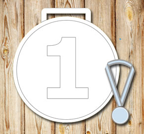 White medals with the number 1  | Free printable