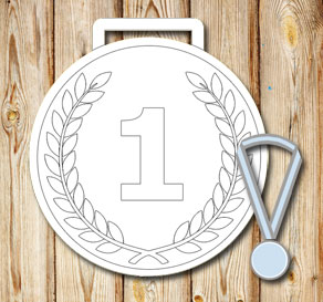 White medals with laurels and the number 1  | Free printable