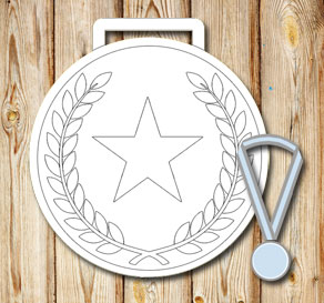White medals with laurels and stars  | Free printable