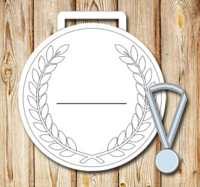 White medals with laurels and lines to write on  | Free printable