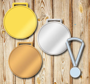 Gold, silver and bronze medals with editable text  | Free printable