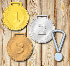 Gold, silver and bronze medals with the numbers 1 2 3  | Free printable