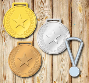 Gold, silver and bronze medals with laurels and stars  | Free printable