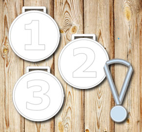 White medals with the numbers 1 2 3  | Free printable