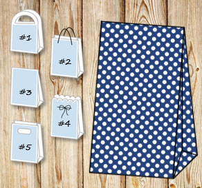 Dark blue gift bag with white dots  | Free printable gift bag