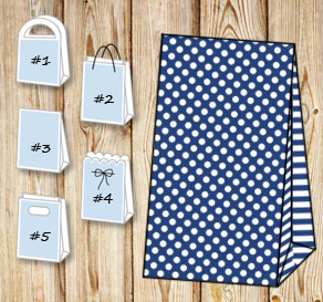 Dark blue gift bag with white dots and striped sides  | Free printable gift bag