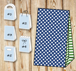 Dark blue gift bag with white dots and dark green s...  | Free printable gift bag