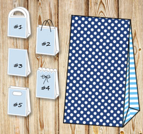 Dark blue gift bag with white dots and light blue s...  | Free printable gift bag