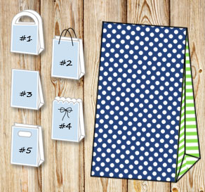 Dark blue gift bag with white dots and light green ...  | Free printable gift bag