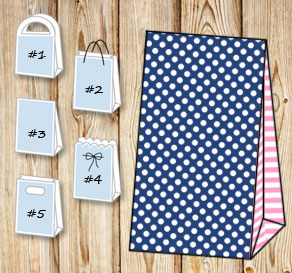 Dark blue gift bag with white dots and light pink s...  | Free printable gift bag