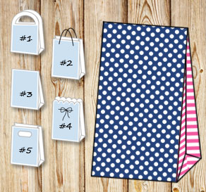 Dark blue gift bag with white dots and pink striped...  | Free printable gift bag
