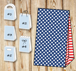 Dark blue gift bag with white dots and red striped ...  | Free printable gift bag