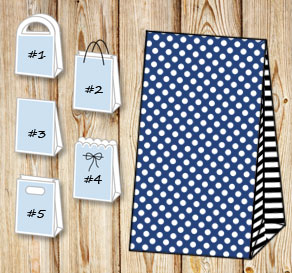 Dark blue gift bag with white dots and black stripe...  | Free printable gift bag
