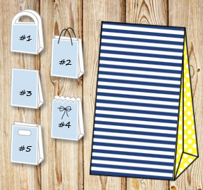 Dark blue and white striped gift bag with yellow do...  | Free printable gift bag