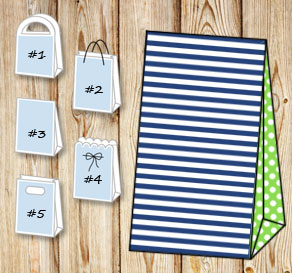 Dark blue and white striped gift bag with light gre...  | Free printable gift bag