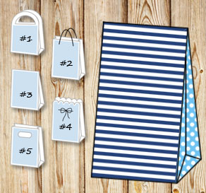 Dark blue and white striped gift bag with light blu...  | Free printable gift bag