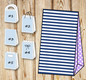 Dark blue and white striped gift bag withlight pink...  | Free printable gift bag