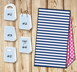 Dark blue and white striped gift bag with pink dott...  | Free printable gift bag
