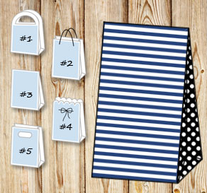 Dark blue and white striped gift bag with black dot...  | Free printable gift bag