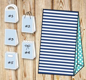 Dark blue and white striped gift bag with turquoise...  | Free printable gift bag