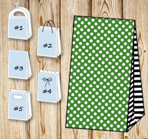 Dark green gift bag with white dots and black strip...  | Free printable gift bag
